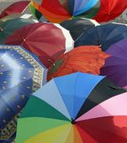 Series of many umbrellas for sale from local market Stock Photography