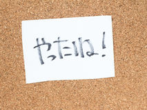 The series of a message on the cork board, good job in Japanese Royalty Free Stock Image