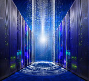 Series of modern supercomputers server room data center into futuristic cyberspace Stock Photography