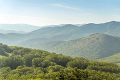 Series of mountain hills covered with green forests somewhere in Royalty Free Stock Photo