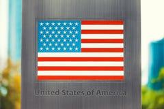 Series of national flags imprinted on metal pole - United States. National flags imprinted on metal pole series - USA flag Royalty Free Stock Image