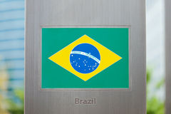 Series of national flags on pole - Brazil Royalty Free Stock Photo