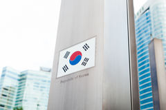 Series of national flags on pole - Korea Stock Photos