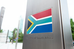 Series of national flags on pole - South Africa Royalty Free Stock Photos