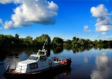 Boat on the bank of the river Klyazma. Vladimir region. stock images