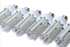 Series of new generation LED lamps. stock photography