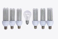 Series of new generation LED lamps. stock images