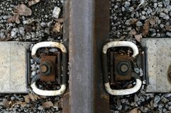 Detail of the railway close-up stock photography
