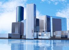 Series of office buildings to represent a business district skyline stock images
