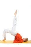 Series Or Yoga Photos.woman Doing Yoga Pose Royalty Free Stock Photo