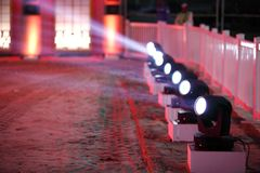 Series of outdoor arena lights Stock Image
