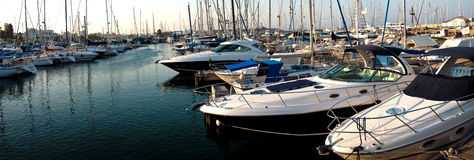 Series of panoramic images from the harbor with ya Royalty Free Stock Photos