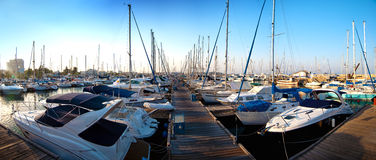 Series of panoramic images from the harbor with ya Stock Photography
