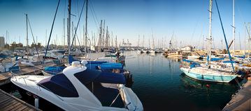 Series of panoramic images from the harbor with ya Royalty Free Stock Photo