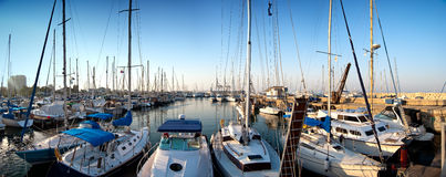 Series of panoramic images from the harbor with ya Royalty Free Stock Images