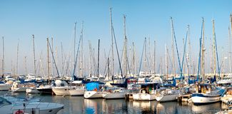 Series of panoramic images from the harbor with ya Royalty Free Stock Image