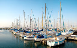 Series of panoramic images from the harbor with ya Stock Photo