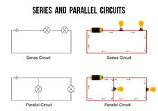Series and parallel circuits. On white background Helpful for basic Education & Schools, vector illustration Stock Photo