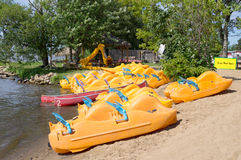 A series of pedalos. At the beach stock photo