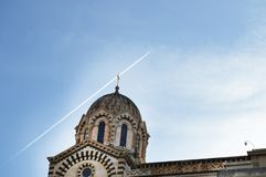 A series of 8 photos - a trace in the sky from the plane flying over Notre Dame de La garde Cathedral in Marseille, the Symbol of. Marseille, step, 6, kit stock photos