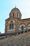 A series of 8 photos - a trace in the sky from the plane flying over Notre Dame de La garde Cathedral in Marseille, the Symbol of. Marseille, step, 1, kit stock photos