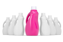 Series plastic bottles of household chemicals Royalty Free Stock Photos