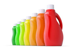 Series plastic bottles of household chemicals. 3d render isolated on white background Royalty Free Stock Image