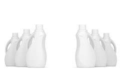 Series plastic bottles of household chemicals. 3d render  on white background Stock Images