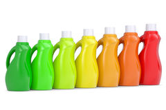 Series plastic bottles of household chemicals Stock Image