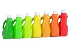 Series plastic bottles of household chemicals. 3d render  on white background Stock Image