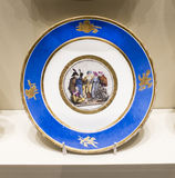 Series of plates with caricatures; allegorical and literary sc. Moscow, Russia -September 08,2016: Series of plates with caricatures; allegorical and literary royalty free stock images