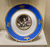 Series of plates with caricatures; allegorical and literary scenes era. Factory Sholshe. Moscow, Russia -September 08,2016: Series of plates with caricatures stock photos