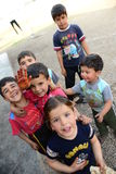 Series of portraits of children syrian refugees stock photos