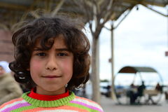 Series of portraits of children syrian refugees stock images