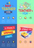 Series of Posters Teachers Day Vector Illustration. Series of posters dedicated to teachers day and literacy day different variants and sample text in columns on Royalty Free Stock Photo