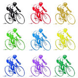Series of Racing Bikes and Cyclists Icons Royalty Free Stock Image