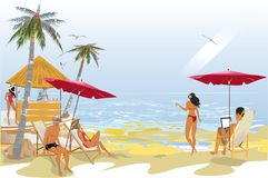 Series of relax summer backgrounds with resort building views and people. Series of relax summer backgrounds with resort building views, seacoast and people vector illustration