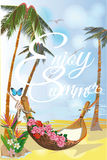 Series of relax summer backgrounds with sunlight and sea beach. Roses and comfortable hammock. Hand drawn illustration Royalty Free Stock Image