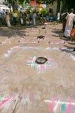 Series of rite Mandalas at Amma Mandapam. Royalty Free Stock Images