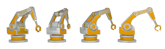 Series robotic arm isolated on white 3d rendering Stock Image