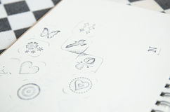 Series of rubber stamp icon on  blank  paper Royalty Free Stock Photo