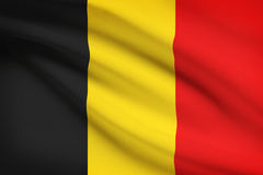 Series of ruffled flags. Belgium. Royalty Free Stock Photography