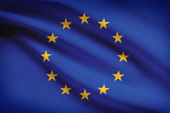 Series of ruffled flags. European Union. Stock Photo