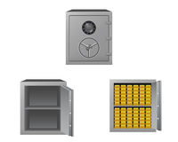 Series of safes. With gold bars Royalty Free Stock Image