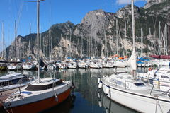 Series of sailboats, dock at Lake Garda, Italy Royalty Free Stock Photo