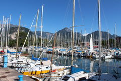 Series of sailboats , dock at Lake Garda, Italy Stock Photography
