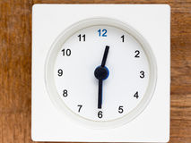 Series of the sequence of time on the simple white analog clock Royalty Free Stock Photography