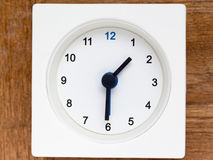 Series of the sequence of time on the simple white analog clock Royalty Free Stock Images