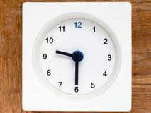 Series of the sequence of time on the simple white analog clock Stock Photo