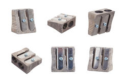 Series of six sharpeners on white background Royalty Free Stock Photography